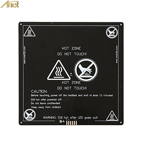ANET RepRap i3 3D Printer Aluminum MK2 MK3 Heated Bed 12V, Updated Version of MK2B & MK2A - Hot Bed for ANET A8 A6 A2, Black 220x220x3mm by Anet