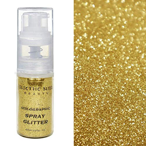 10 Grams ✮ Gold Holographic Glitter Spray ✮ Cosmetic Grade ✮ Makeup Face Body Nail Festival Rave Beauty Craft ✮ Made In USA ✮ (Gold)