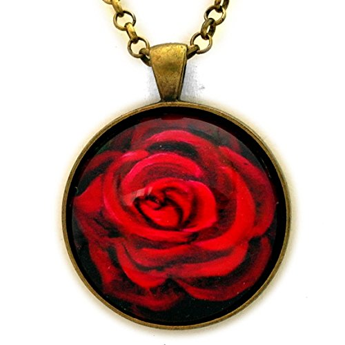 - A Perfect Red Rose Necklace Handmade Pendant Boho Bohemian Flowers Gypsy Jewelry 24