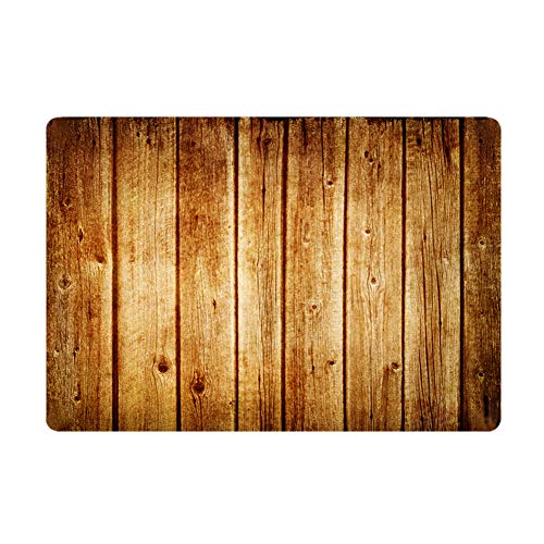 (Hidecor Front Door Mat Indoor Welcome Rustic Old Barn Wood Doormat Non Slip Carpet Flannel Rug for Bathroom Kitchen Bedroom Floor,18