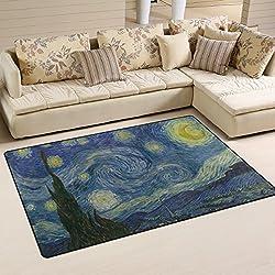 Bolaz The Starry Night By Vincent Van Gogh Area Rug Rugs Non-Slip Floor Mat Doormats Living Room Bedroom 31 x 20 inches