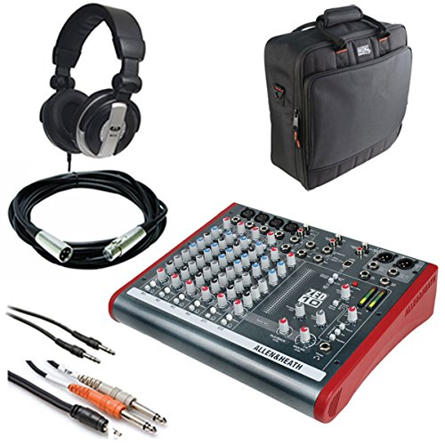 Allen & Heath ZED-10 Multi-Purpose Miniature Mixer + Gator Cases G-MIXERBAG + Headphone + XLR Mic Cable + Instrument Cable & Stereo Cable