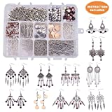 SUNNYCLUE 1 Box DIY 10 Pairs Chandelier Bohemian Earring Making Starter Kit-Chandelier Earring Connector Charm Findings Nickel Free, Assorted Beads, Earring Hooks Jewelry Making Supplies Kit, Style 1