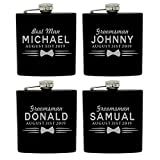 Set of 4, Set of 7 and more Custom Personalized Black Matte Flasks for Groomsmen Gifts - Uniform Style (4)