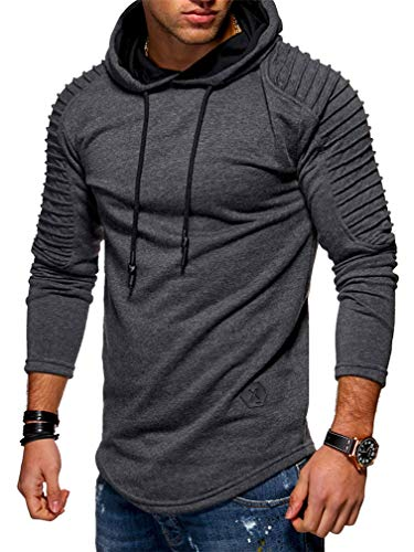 Lealac Mens Western Casual Hipster Hip Hop Basic Heavyweight Pullover Hoodie Jersey Jacket L181-Hoodie Dark Gray M