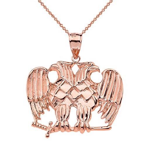 Solid 10k Rose Gold Double Headed Eagle Masonic Pendant Necklace, ()