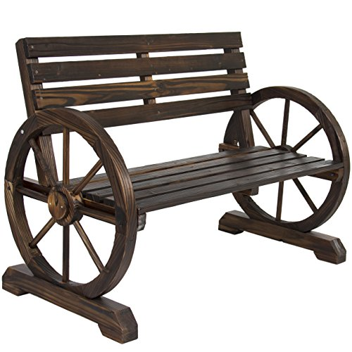 - Best Choice Products Patio Garden Wooden Wagon Wheel Bench Rustic Wood Design Outdoor Furniture