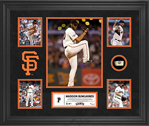 Madison Bumgarner San Francisco Giants Framed 5-Photo Collage with a Piece of Game-Used Baseball - MLB Player Plaques and Collages ()