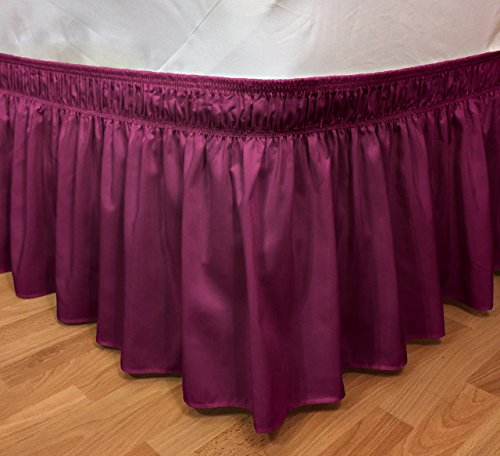 Elegant Elastic Ruffle Bed Skirt Easy Warp Around King/Queen Size Bed Skirt Pins Included, (Bed And Bath Store)