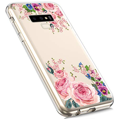 Price comparison product image MoreChioce Galaxy Note 9 Silicone Case,  Fashion Creative Painted Pattern Design Slim Transparent Silicon Protective Cover Compatible with Galaxy Note 9 + 1x Blue Stylus Pen - Peony