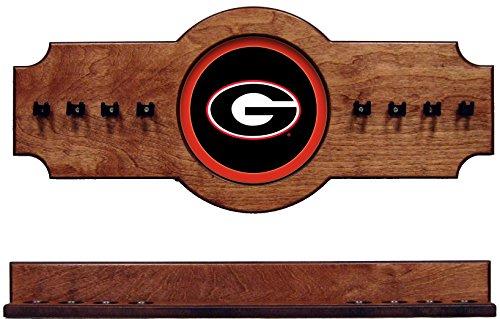 NCAA Georgia Bulldogs UGACRR100-P 2 pc Hanging Wall Pool Cue Stick Holder Rack - Pecan