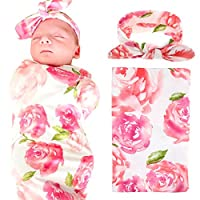 Newborn Baby Swaddle Blanket and Headband Value Set,Receiving Blankets, Pink ...