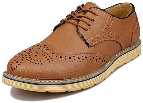 Kunsto Men's Leather Brogue Oxford Dress Shoes Lace Up US Size 10.5 Light Brown