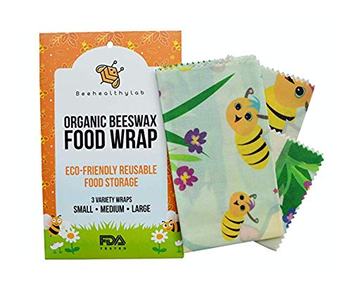 Organic Beeswax Food Wraps by Bee Healthy Lab, Set of 3-Reusable Kitchen Wraps Preserve & Protect Produce - Easy to Use, Wash and Store - Plastic-Free, Eco-Friendly and Sustainable (Honey Bees Print)