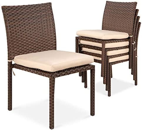 Best Choice Products Set of 4 Stackable Outdoor Patio Wicker Chairs w Cushions, UV-Resistant Finish, and Steel Frame – Brown Cream