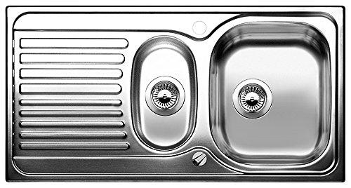 Blanco 516997 - Fregadero de 1,5 senos, color: plateado