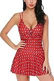 ADOME Women Swimwear One Pieces Swimsuits Polka Dot Shaping Ruffled Hem Swimdress Dark Red XXL