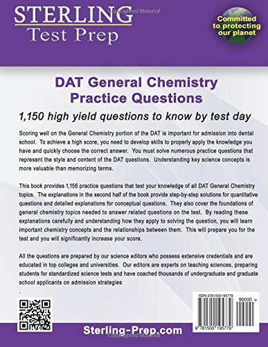 Sterling DAT General Chemistry Practice Questions: High Yield DAT
