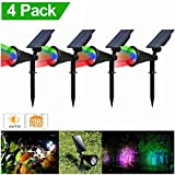 LED Solar Spotlight, T-SUNRISE 4 LED Solar Lights, IP65 Waterproof Landscape Light Security Lighting Dark Sensing Auto On/Off, Adjustable for Tree, Patio, Yard, Garden, Driveway, Stairs, Pool Area (4P