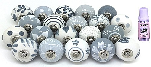 Karmakara Set of 20 Gray & White hand painted ceramic pumpkin knobs cabinet drawer handles pulls.10 ml Jasmine Essential oil Free