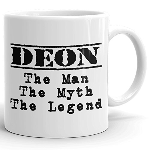 Best Personalized Mens Gift! Deon The Man the Myth the Legend - Coffee Mug Cup for Dad Boyfriend Husband Grandpa Brother in the Morning or the Office