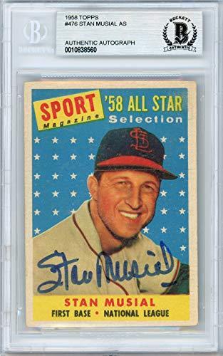 (Stan Musial Autographed 1958 Topps Card #476 St. Louis Cardinals Beckett BAS #10838560)