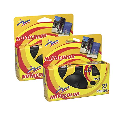 Novocolor – Disposable Cameras with Flash (27 Exposures with Flash) Pack of 2