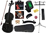 YMC 4/4 Full Size Handcrafted Solid Wood Student Violin Starter Kits(with Hard Case, Bow, Music Stand, Electronic Tuner, Bow Collimator, Shoulder Rest, Mute, Extra Strings, Polish Cloth, Rosin), Black