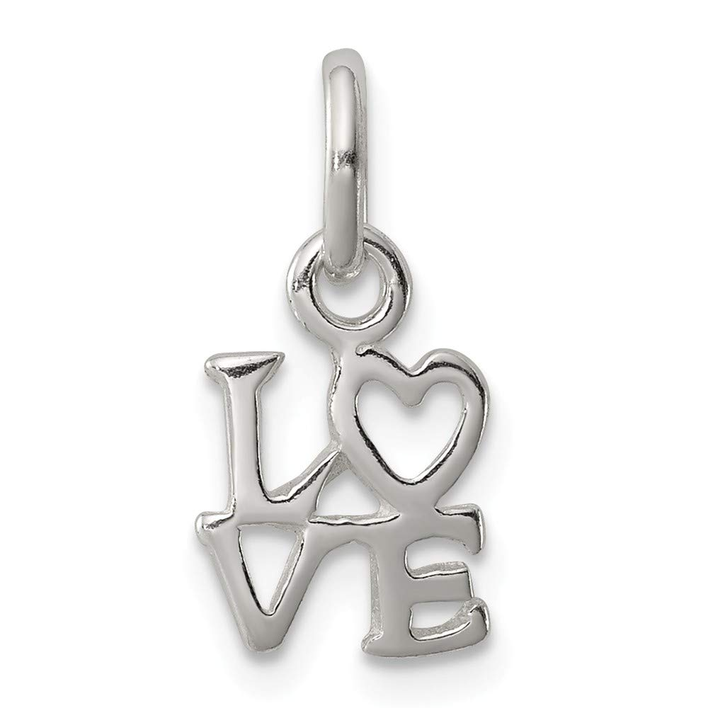 FB Jewels Solid 925 Sterling Silver Love Charm