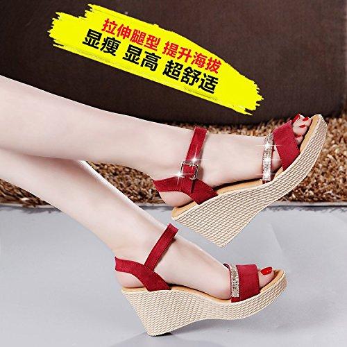 y Mesas Sandalias Espesor gules Impermeable Zapatos Muffins Verano Sandalias Sandalias Mujer de ZHANGJIA de de 17PwYzq