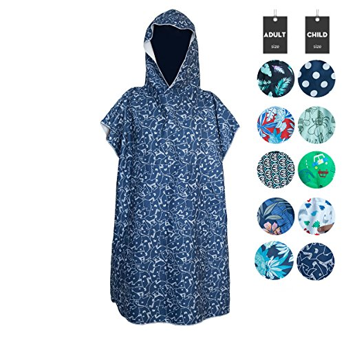 Runpilot Kids Beach Hooded Poncho Changing Bath Robe Towel with Pocket for Swimming Surfing ()
