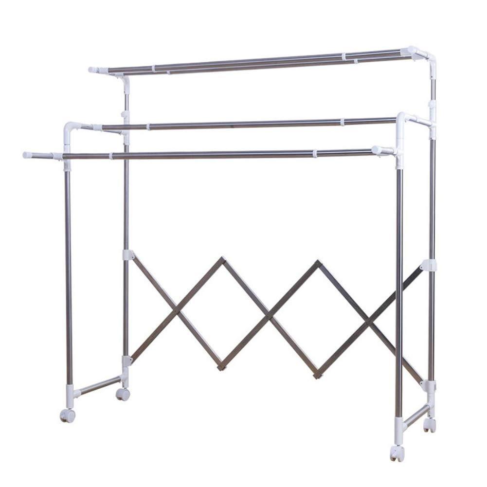 衣類乾燥ラック、伸縮自在の衣服ラックオーガナイザー金属多目的収納棚ステンレス鋼管 - 3層 B07Q8713Q9