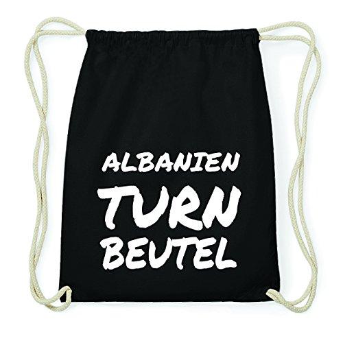 JOllify ALBANIEN Hipster Turnbeutel Tasche Rucksack aus Baumwolle - Farbe: schwarz Design: Turnbeutel