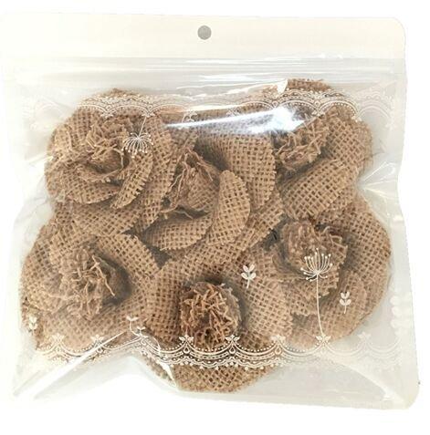 6pcs Hessian Burlap Small Flowers Rustic Wedding Craft Making Decor 4.5CM