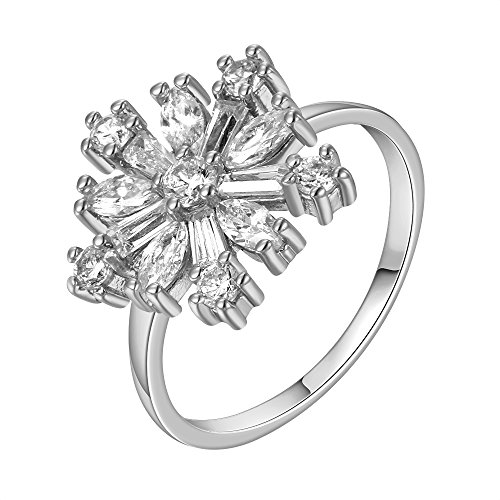 Grace Angel 18K White Gold Plated Christmas Theme Cubic Zirconia CZ Snowflake Ring RI007W (Engament Ring Diamond)