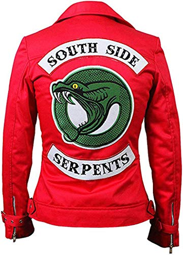 Arrivals Womens Riverdale Southside Serpents Red Leather Jacket (M)
