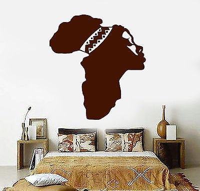 Map Canvas Mural Banner - Vinyl Wall Decal Africa Map Beautiful Woman African Ethnic Decor Stickers vs4816