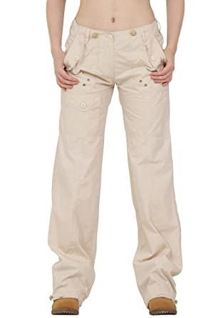 86a614b9490 Lightweight Cotton Wide Leg Cargo Combat Trousers - Beige (6)   Amazon.co.uk  Clothing