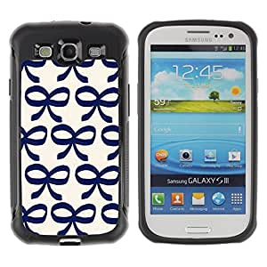 LASTONE PHONE CASE / Suave Silicona Caso Carcasa de Caucho Funda para Samsung Galaxy S3 I9300 / Bow Bowtie Blue White Pattern Clean