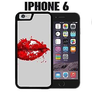 Labios rojos pintada para iPhone 6Plástico Negro (buques de CA)