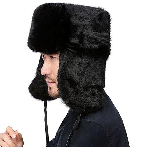 99e173fab77d1 Valpeak Mens Winter Real Rabbit Fur Russian Ushanka Hats