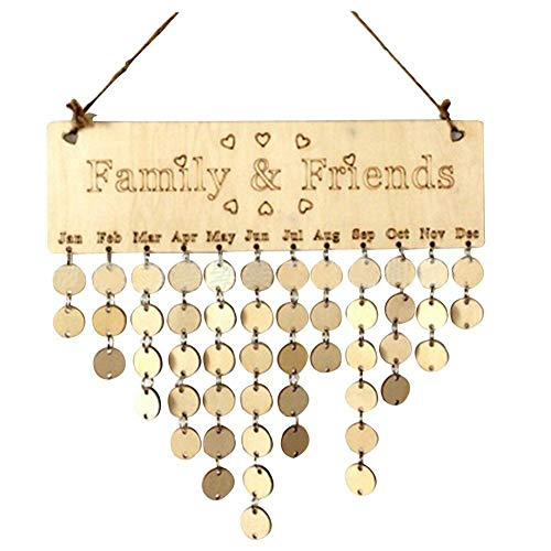 Pendant Drop Ornaments - Family Amp Friends Hanging Calendar Wooden Board Birthday Reminder Plaque Home Decor - Wooden Heart Bts Office Kid Calendar Metal Planner Box Board