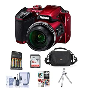 Nikon Coolpix B500 Digital Point & Shoot Camera, Red - Bundle With Camera Bag, 4 AA Batteries, 16GB Class 10 SDHC Card, Cleaning Kit, Table Top Tripod, Software Package