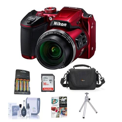 Nikon Coolpix B500 Digital Point & Shoot Camera, Red – Bundle with Camera Bag, 4 AA Batteries, 16GB Class 10 SDHC Card, Cleaning Kit, Table Top Tripod, Software Package