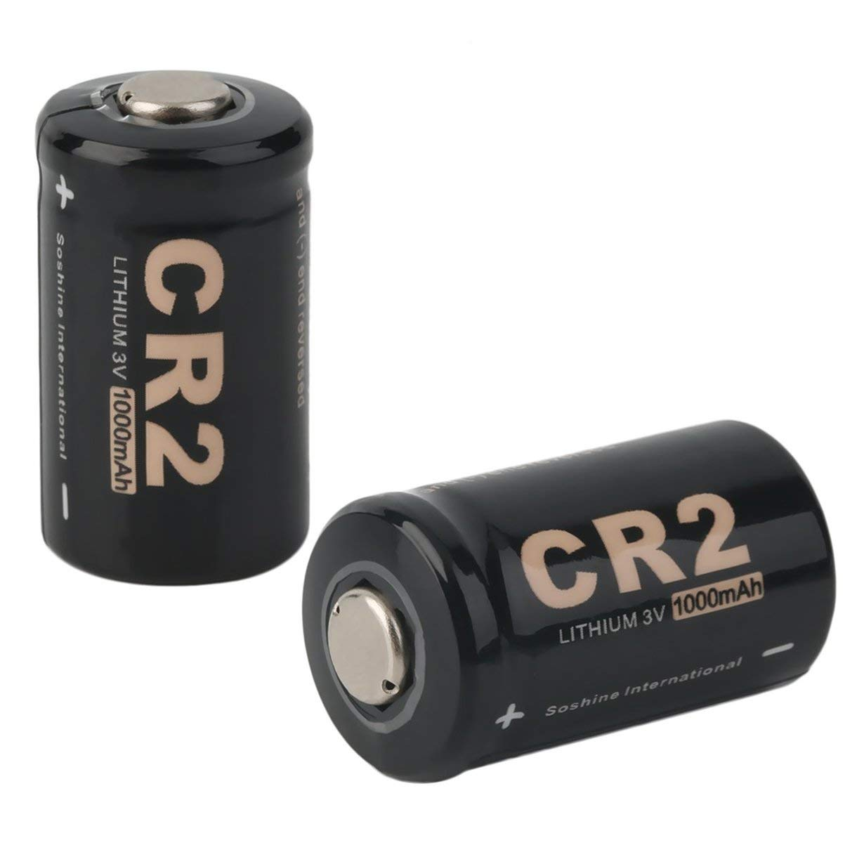 2pcs CR2 3.0V 1000mAh Rechargeable Battery Maximum Capacity Reliability Built-in Safety Circuitry with Case for Soshine-Black-1 Size