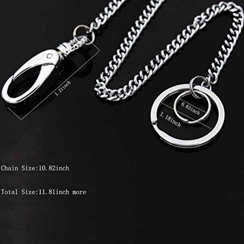 Liangery Chaine fabriquée sur mesure en acier inoxydable pour motard à fixer sur le pantalon Pour tenir les clés ou le portefeuille Pour homme femme 30cm 70%OFF