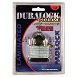 Duralock Pro-line | 5-pin Solid Brass Cylinder | Body Galvanized, Laminated, Zinc-plated Plates | Hardened and Chromed Shackle | 1 Lock with 2 Sold Brass Chromed Keys | Life Time Warranty |