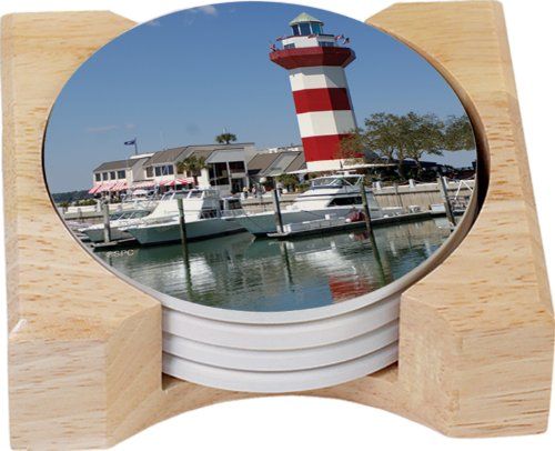 CounterArt Harbour Town Lighthouse Design Square Absorbent Coasters in Wooden Holder, Set of - Shops Harbour Town