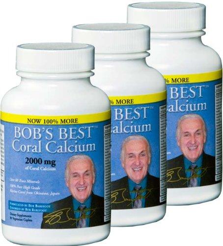 Meilleur 2000mg de calcium de corail de Bob, 3 PACK de 90 Capsules nouvelle formulation améliorée!