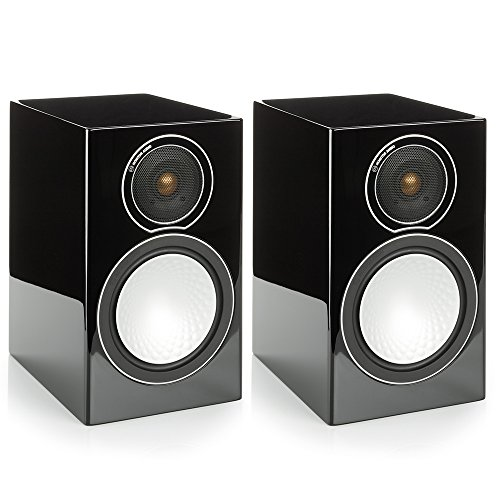 Monitor Audio Silver 1 - Par de caixas acústicas Bookshelf 2-vias para Home Theater Preto Laqueado